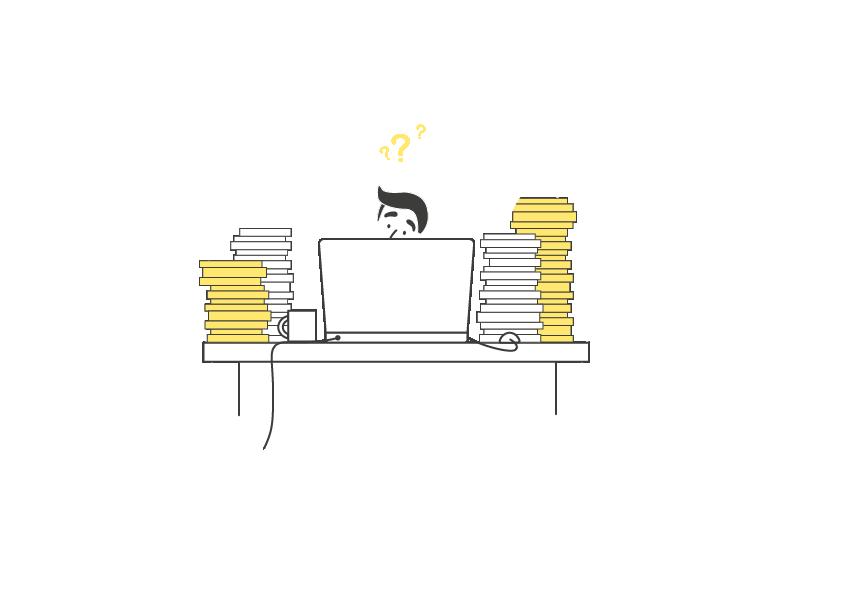 Ikona zobrazující chaos ve firmě, kde chybí finanční ododělení.
